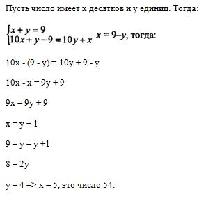 Сумма цифр натурального двузначного числа равна 9