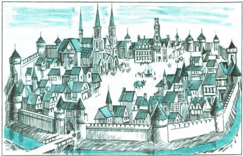 рассмотрите рисунок схему средневекового города составьте его описание по иллюстрации почти готов, пока